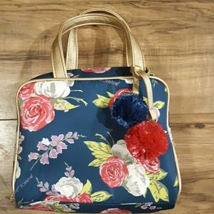 Betsey Johnson Floral w Pom Poms Travel Makeup Bag
